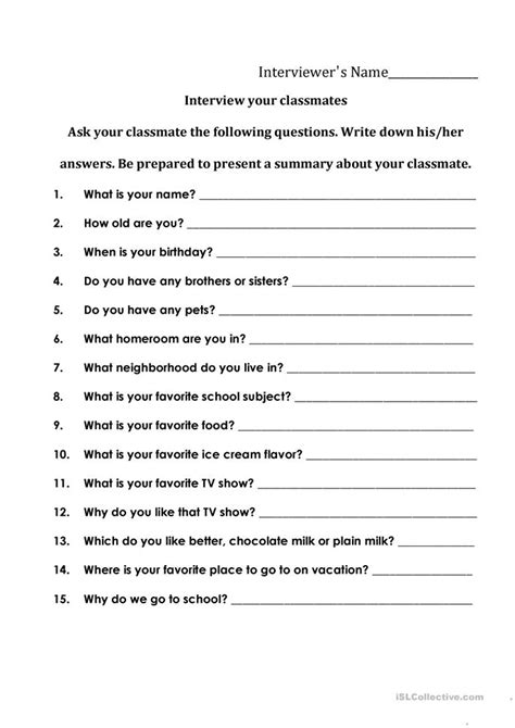 interviewing your classmates worksheet free esl