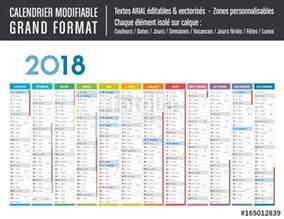 Calendrier 2018 Vectoriel Gratuit Quot Calendrier 2018 Modifiable Grand Format Quot Fichier