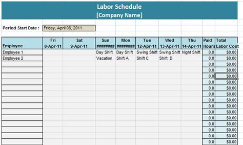labor schedule template labor schedule template 6 free templates schedule