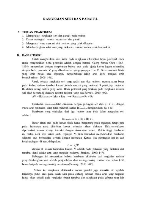 cara membuat laporan praktikum fisika dasar 1 laporan praktikum rangkaian seri paralel