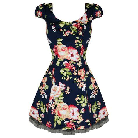 Dress Mini Flowery Navy Fetira Dress Bunga Navy Fetira hearts and roses new navy blue floral vintage 50s style mini prom dress ebay