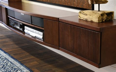 floating tv stand entertainment center console curve mocha  piece woodwaves