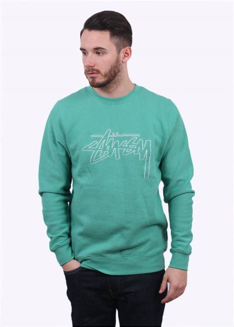Hoodie Sweater Stussy 1 stussy stock outline sweater green sweatshirts from triads uk