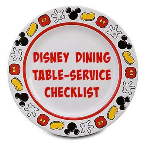 disney dining table service checklist