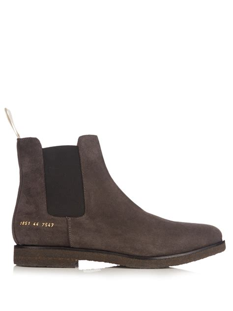 common projects suede chelsea boots in gray for lyst