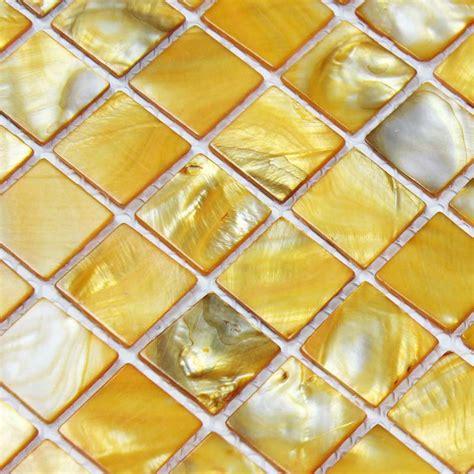 yellow backsplash tile shell tiles 100 yellow seashell mosaic of pearl