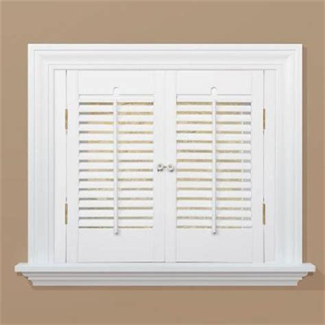 Homebasics Traditional Real Wood Snow Interior Shutter Home Depot Window Shutters Interior