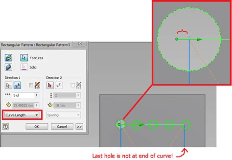 rectangular pattern inventor sketch rectangular pattern with 2 curve lengths 1 sketch