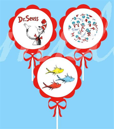Dr Seuss Baby Shower Cupcakes by Dr Seuss Cupcake Toppers Baby Shower Dr
