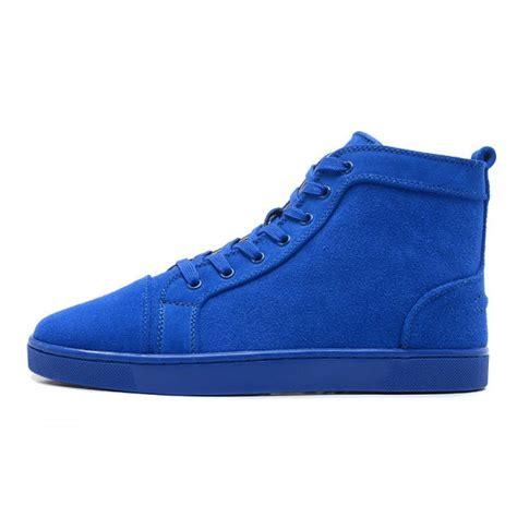 Blue Sneaker christian louboutin louis mens flat high top suede
