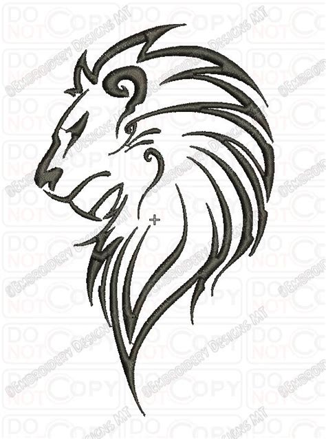 tribal pattern outline lion outline tribal embroidery design in 3x3 4x4 and 5x7