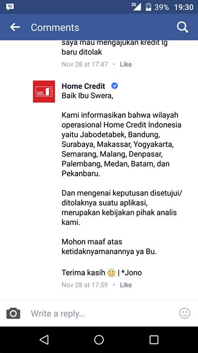 penolakan pengajuan kredit di home credit dengan alasan