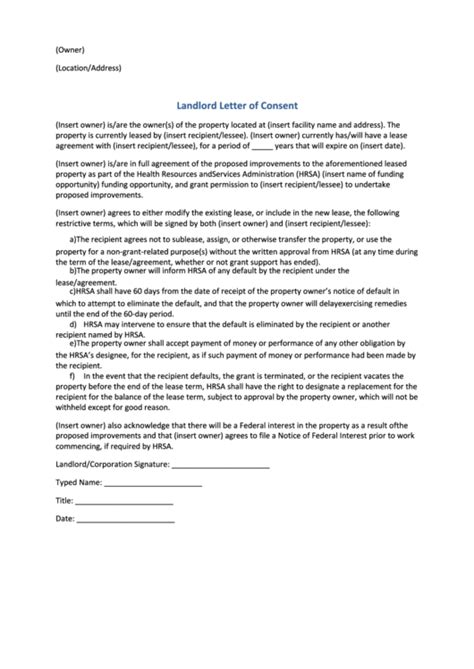 consent letter landlord landlord letter of consent template printable pdf