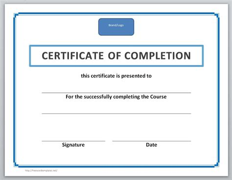 certificate of completion of template 13 free certificate templates for word microsoft and