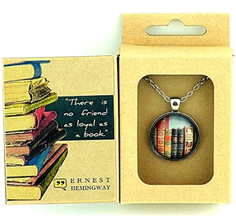 little gifts for book club vintage books pendant in ernest hemingway quote box there is no friend as loyal as a book