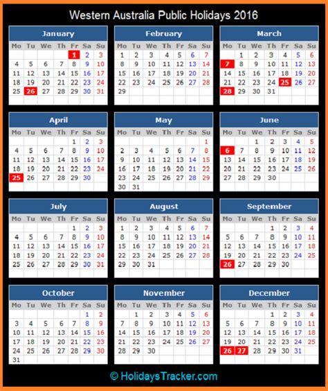 Western Academic Calendar Western Australia Australia Holidays 2016