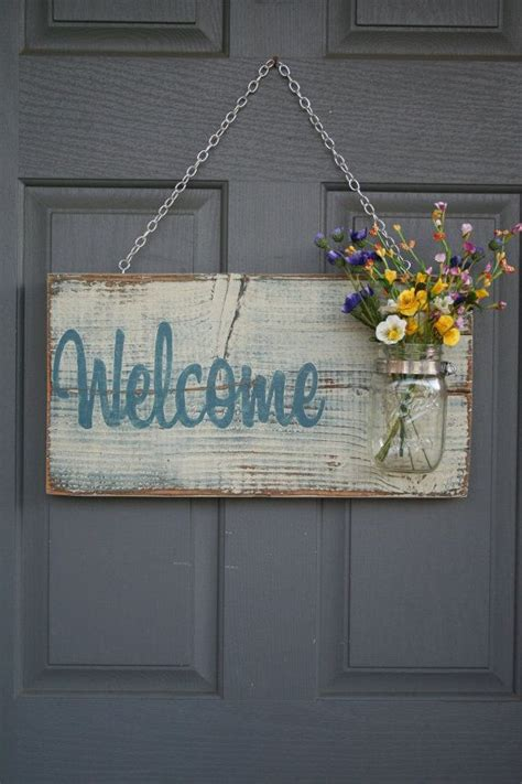 welcome home decoration mason jar welcome sign distressed welcome sign