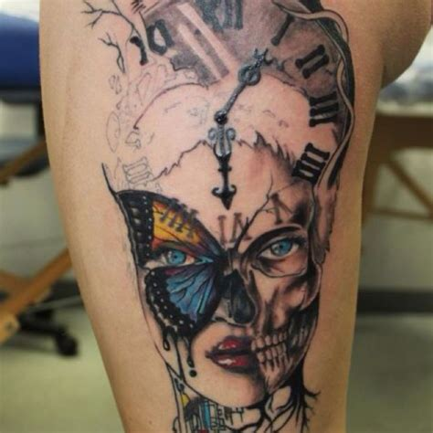 timepiece tattoos skull clock