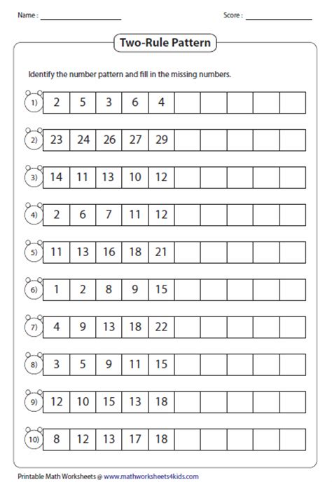 pattern rules grade 5 pattern worksheets