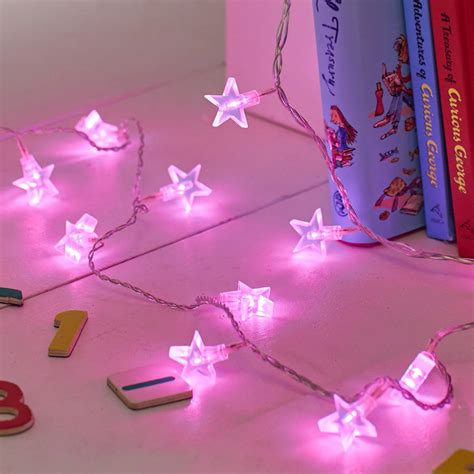 pink bedroom lights pink star fairy lights by lights4fun notonthehighstreet com