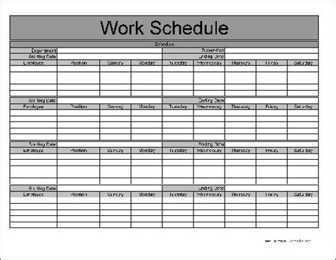 employee monthly schedule template freepage