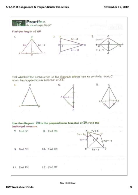 Point Of Concurrency Worksheet by 5 1 5 2 Notes