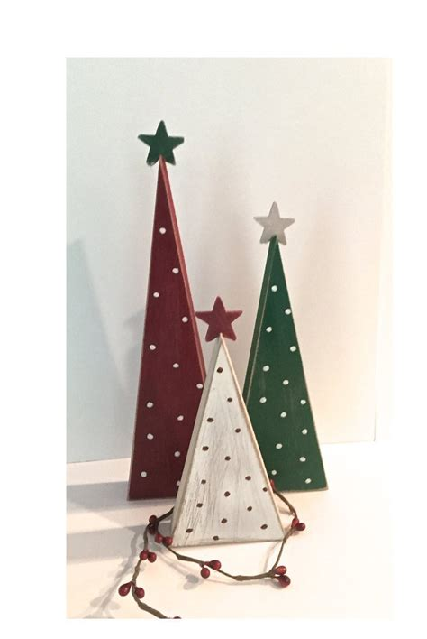 painted wooden trees wooden trees trees set of 3 trees wood