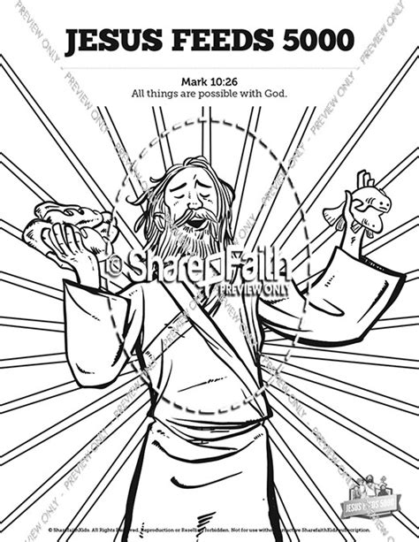 Bible Coloring Page Feeding 5000 by Jesus Feeds 5000 Sunday School Coloring Pages