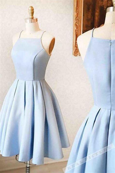 light blue satin simple short dressmini dress  teens