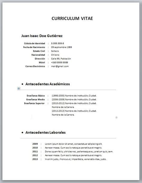 Plantilla De Curriculum Vitae Sencillo modelo de curriculum vitae sencillo modelo de curriculum
