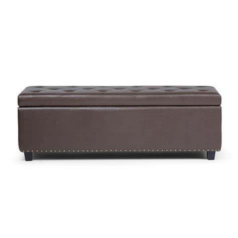 Large Storage Ottoman Bench Simpli Home Hamilton Chocolate Brown Large Storage Ottoman Bench 3axcot 239 Cbr The Home Depot