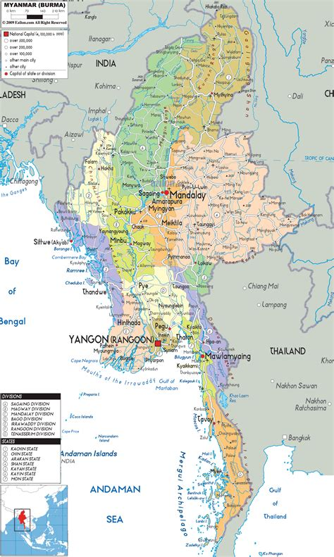 maps for political map of myanmar ezilon maps
