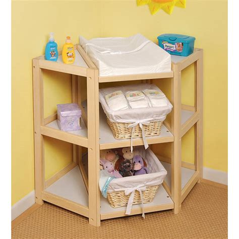 Badger Basket 02206 Natural Diaper Corner Baby Changing Table Badger Basket Corner Changing Table