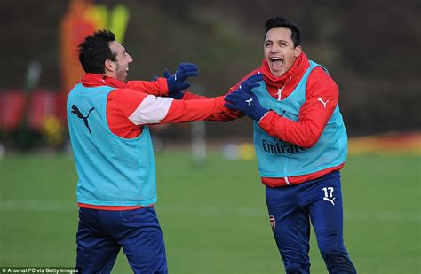 alexis sanchez brother alexis sanchez and santi cazorla are having a laugh as