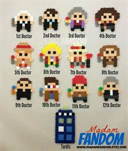 Who craft favors 8bit christmas ornament doctor who perler bead