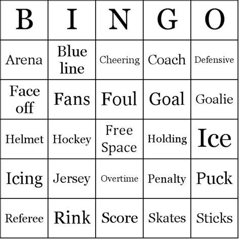 hockey card template word hockey bingo cards
