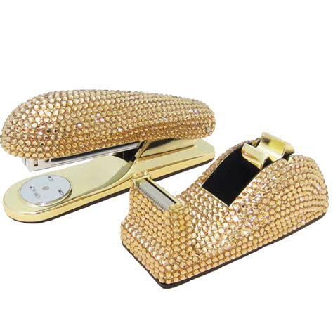 gold desk accessories set anthony david desk set with swarovski crystals gold