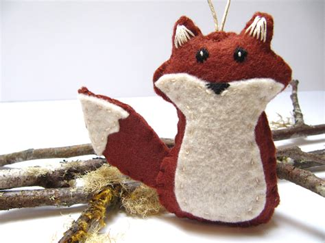 fox ornament felt christmas ornament wool felt red fox