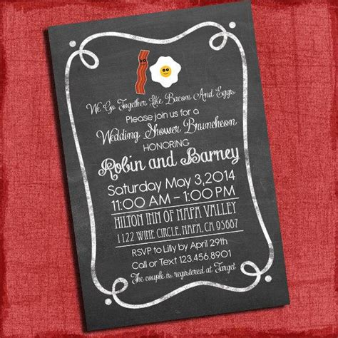 coed wedding shower invitations bacon and eggs couples coed wedding shower or wedding