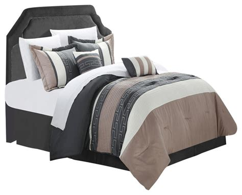 grey bed in a bag carlton taupe grey tan king 6 piece comforter bed in a
