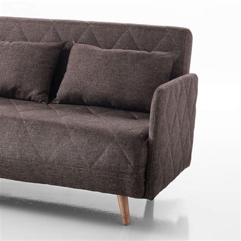 bracciolo divano divano letto ayako con braccioli in tessuto marrone 135 cm