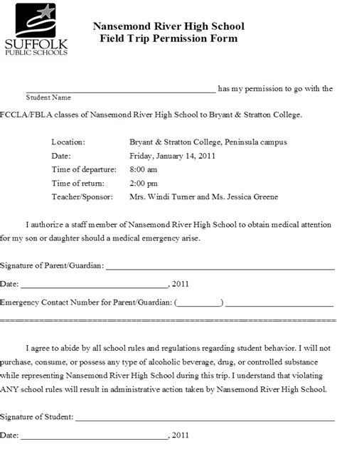 field trip permission letter 35 sample leave application