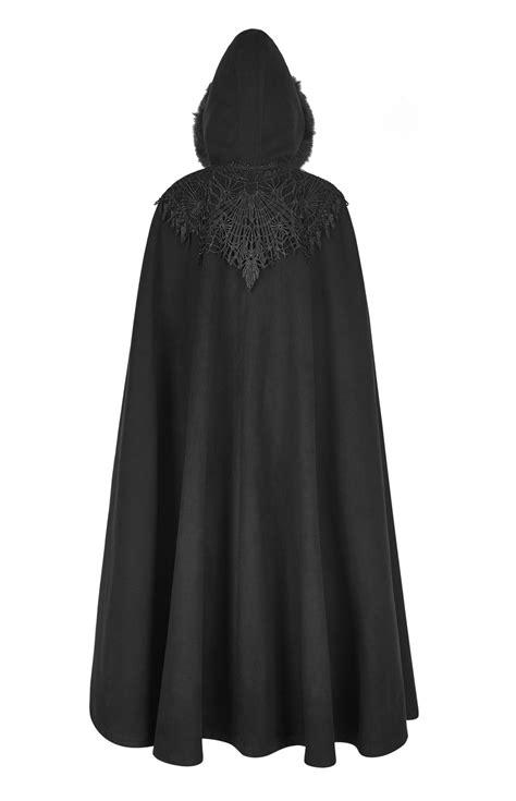 Longue cape noire avec broderie et capuche élégant