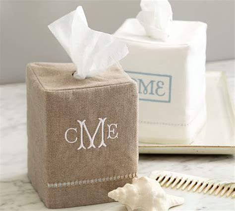 Paper Cover - linen hemstitch tissue box cover pottery barn