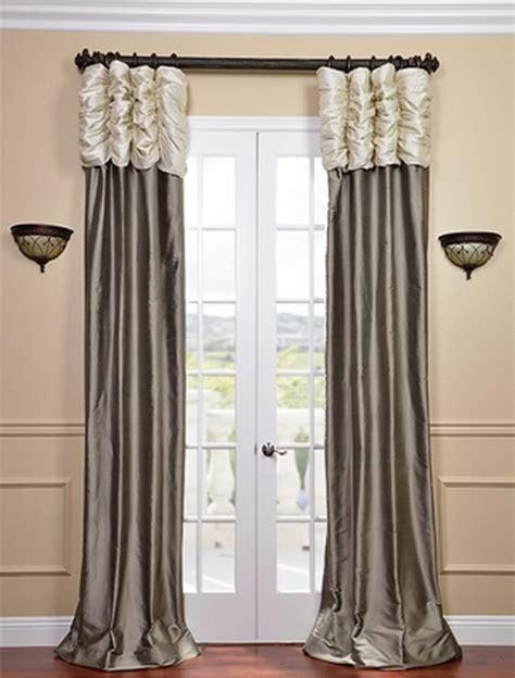 silver grey silk curtains ruched thai silk curtain pearl white header silver