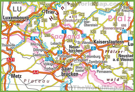 map of saarbrucken germany saarland road map