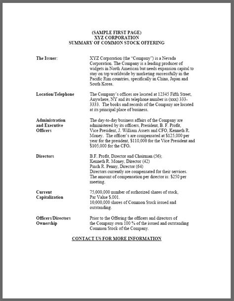 offering memorandum template offering memorandum sle free printable documents