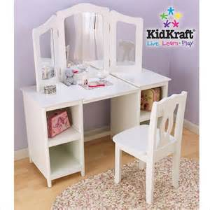 Youth Makeup Vanity Kidkraft Deluxe Wood Makeup Vanity Table With Chair And