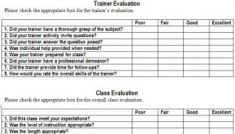 training evaluation form template training evaluation form