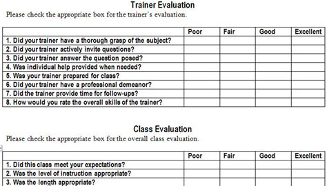 evaluation card template evaluation form template evaluation form